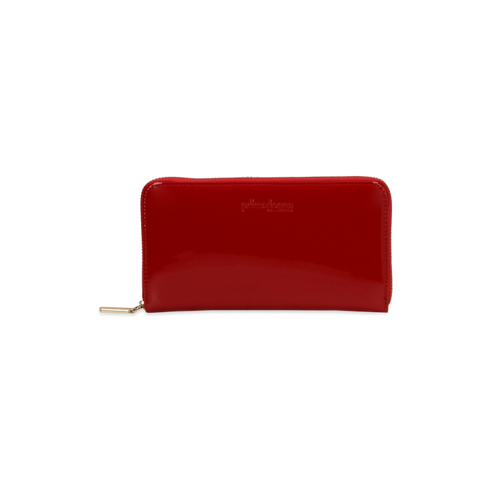 Portafoglio rosso in ecopelle vernice , Saldi, 122200896VEROSSUNI