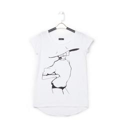 T-shirt bianca in tessuto con stampa nera minimal , Abbigliamento, 13I730076TSBIANL, 001 preview