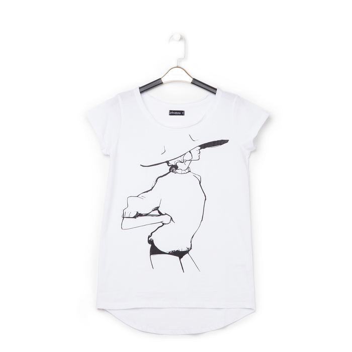 T-shirt bianca in tessuto con stampa nera minimal , Abbigliamento, 13I730076TSBIANL