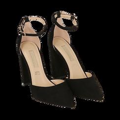 Décolleté microfibra en color negro con tira , tacón 10,50 cm , Zapatos, 152123411MFNERO040, 002 preview