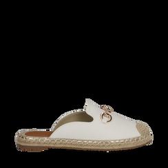Mules espadrillas bianche in eco-pelle , Scarpe, 134951159EPBIAN035, 001a