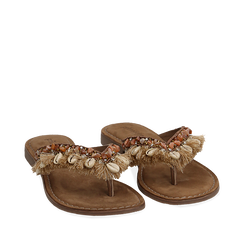 Ciabatte infradito taupe in raso con conchiglie, Chaussures, 15K808336RSTAUP035, 002a