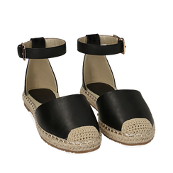 WOMEN SHOES ESPADRILLAS ECO-LEATHER NERO, Chaussures, 154905188EPNERO035, 002a