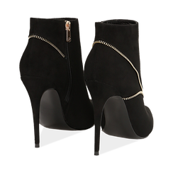 Ankle boots neri con zip, tacco 10,50 cm , Stivaletti, 142150061MFNERO037, 004 preview
