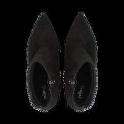 Tronchetti neri in vero camoscio, tacco 8 cm, Primadonna, 12D614011CMNERO, 004 preview