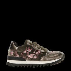 Sneakers taupe  con ricami floreali velluto, Primadonna, 121617734VLTAUP036, 001a