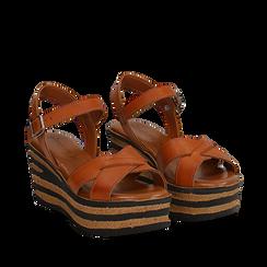 Sandali platform cuoio in eco-pelle, zeppa righe optical 8 cm , Primadonna, 13A139255EPCUOI036, 002a