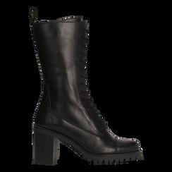 Anfibi neri in vera pelle con gambale alto, tacco 7,5 cm, Primadonna, 127723810PENERO, 001 preview
