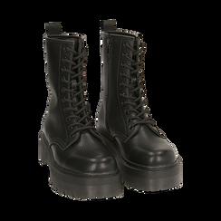 Botas militares en color negro con procesamiento caído, Primadonna, 162831293ELNERO035, 002 preview