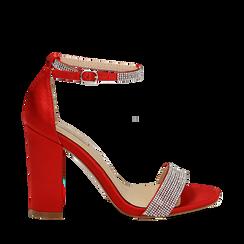 Sandali rossi in raso con mini cristalli, tacco 10,5 cm, Scarpe, 132150553RSROSS036, 001a