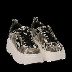 Sneakers bianco/nere stampa pitone, zeppa 6,50 cm, Primadonna, 167505101PTBINE035, 002a