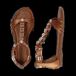 Sandali cuoio in raso con perle e placche oro, Primadonna, 133601505RSCUOI036, 003 preview