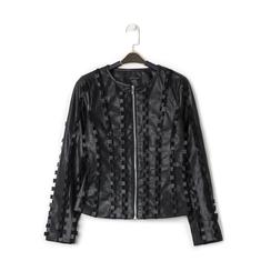 Giacca nera in eco-pelle e rete con lavorazione 3D, Primadonna, 136501080EPNEROL, 001a