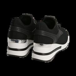 Sneakers nere in tessuto con zeppa, Primadonna, 152803421TSNERO036, 004 preview