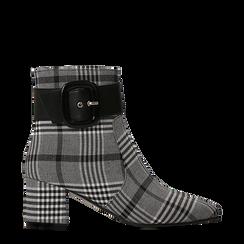 Tronchetti tweed con maxi-fibbia, tacco 5 cm, Scarpe, 122707413TSNEBI035, 001a
