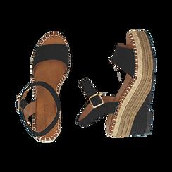 Sandali neri in microfibra, zeppa 9 cm , Chaussures, 154907131MFNERO, 003 preview