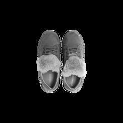 Sneakers grigie con pon pon in eco-fur, Scarpe, 121081755MFGRIG, 004 preview