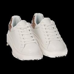 Sneakers bianco/rosa in eco-pelle con dettagli glitter , Sneakers, 152602011EPBIRA035, 002a