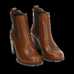 Ankle boots cuoio in pelle, tacco 7,50 cm, Primadonna, 167738004PECUOI036, 002a
