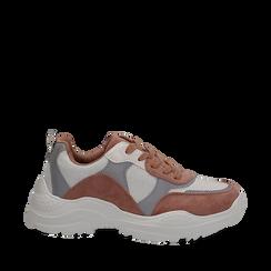 Dad shoes rosa  in nylon con dettagli metallizzati, Scarpe, 130101402NYROSA036, 001a