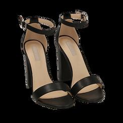 Sandali neri, tacco 10,50 cm, Scarpe, 152706086EPNERO035, 002a