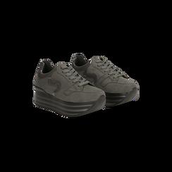 Sneakers grigie con maxi platform a righe, Primadonna, 122800321MFGRIG035, 002
