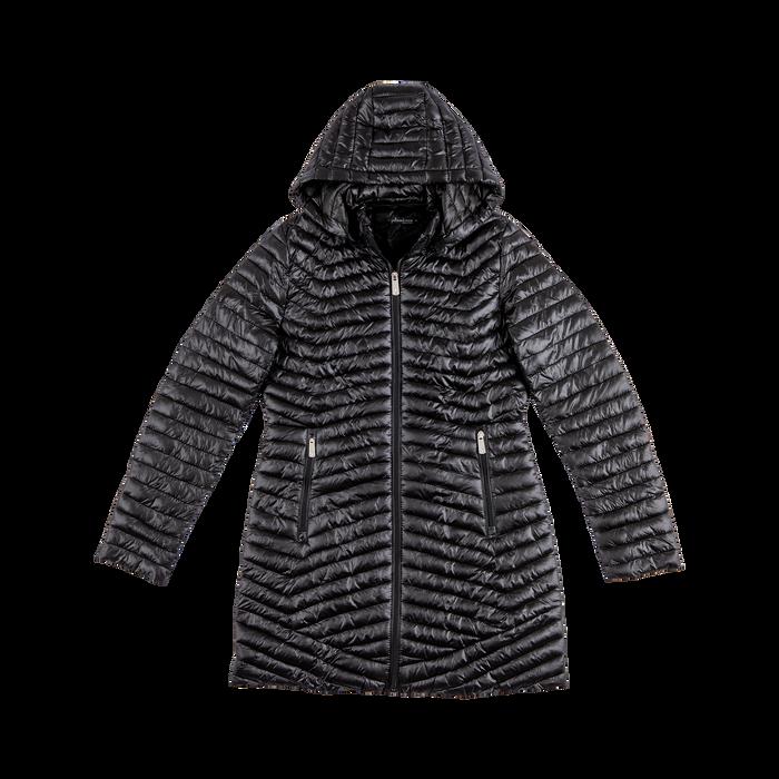 online retailer c55e5 7adc3 Piumino lungo nero con cappuccio