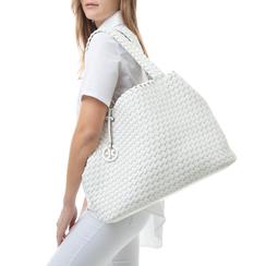 Maxi-bag bianca intrecciata, Borse, 155786118EIBIANUNI, 002a