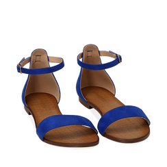 Sandali blu cobalto in microfibra, Chaussures, 154903091MFBLCO035, 002a