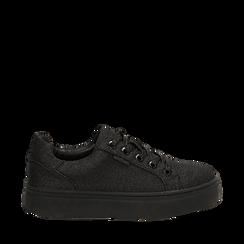 Sneakers nere glitter, suola 4 cm , Scarpe, 142509512GLNERO036, 001a