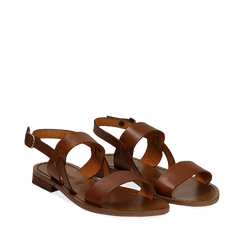 Sandali flat cuoio in pelle, Primadonna, 138102005VACUOI036, 002a