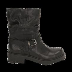 Biker boots neri in pelle con fibbia, Stivaletti, 147200635PENERO035, 001a