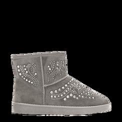 Scarponcini invernali grigi con mini borchie, Scarpe, 12A880115MFGRIG036, 001a
