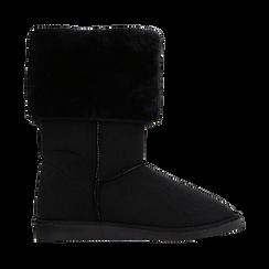 Scarponcini invernali scamosciati neri con risvolto in eco-fur, Scarpe, 125001204MFNERO036, 001 preview
