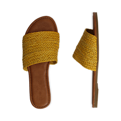 Mules flat gialle in eco-pelle intrecciata, Primadonna, 133600110EIGIAL036, 003 preview