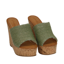 Ciabatte verdi in rafia, zeppa 12 cm , Zapatos, 154979822RFVERD037, 002a