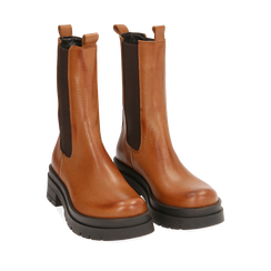 Chelsea boots cognac in pelle, Primadonna, 167277044PECOGN035, 002a