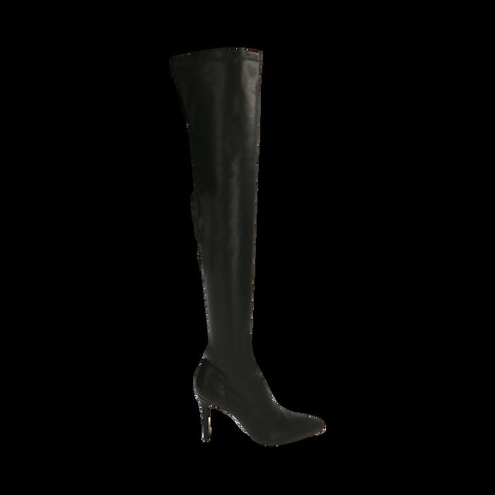 Stivali oveknee neri, tacco 9 cm, Primadonna, 162183365EPNERO036