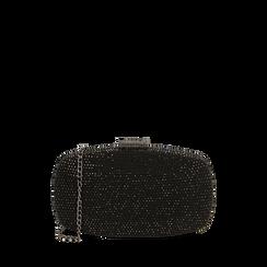 Clutch gioiello nera in microfibra, IDEE REGALO, 165109596MPNEROUNI, 001a