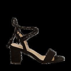 Sandali neri in microfibra con laccetti alla caviglia, tacco quadrato 7,5 cm, Scarpe, 132127351MFNERO036, 001a