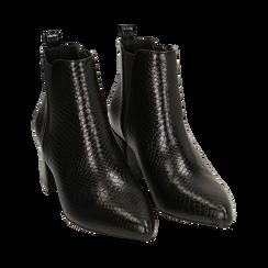 Ankle boots neri stampa vipera, tacco 6 cm , Primadonna, 164931531EVNERO036, 002 preview