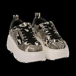 Sneakers blanc/noires imprimé python, compensée 6,50 cm , Primadonna, 167505101PTBINE035, 002 preview