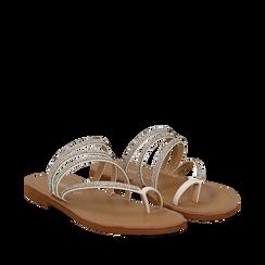 Sandali infradito con strass bianchi in eco-pelle, Saldi Estivi, 114926815EPBIAN035, 002a