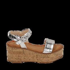 Sandales argentées en éco-cuir imprimé crocodile, compensées 7,50 cm, Primadonna, 154967318CCARGE039, 001a