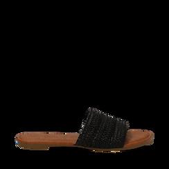 Mules flat nere in eco-pelle intrecciata, Primadonna, 133600110EINERO035, 001a