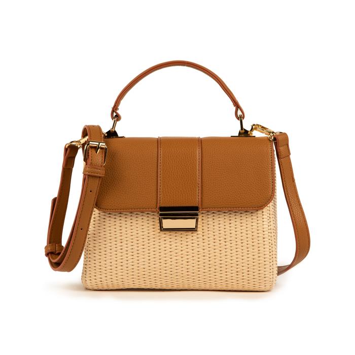Mini bag beige in eco-pelle e rafia, Borse, 152392479RFBEIGUNI