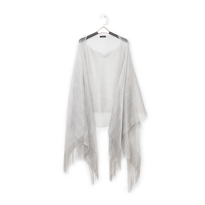 Poncho argento in tessuto laminato , Abbigliamento, 13B445057LMARGEUNI