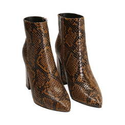 Ankle boots marroni in eco-pelle stampa pitone, tacco 9,5 cm , Primadonna, 142186672PTMARR036, 002 preview