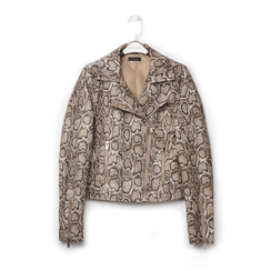 Biker jacket beige in eco-pelle, stampa snake skin, Primadonna, 136501161PTBEIGL, 001a