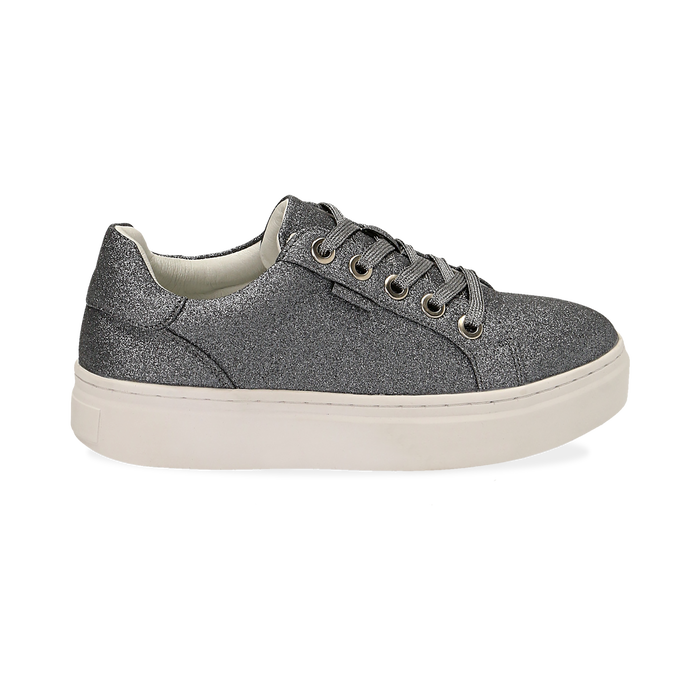 Sneakers argento glitter, suola 4 cm , Scarpe, 142509512GLARGE036